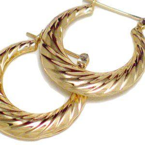 Hoop Earrings Oval | 14k Gold w/ Ribbed Design